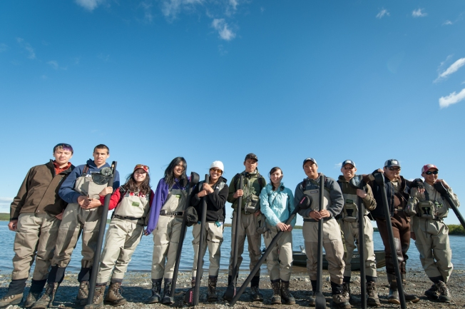 Bristol Bay River Academy - 2012 Class on the banks of the Naknek River.